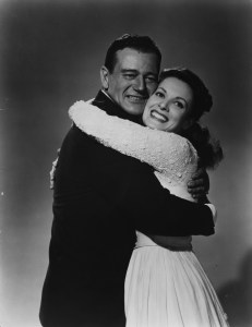 Irish actress Maureen O'Hara with John Wayne in a publicity still for 'The Quiet Man'. Original Publication: People Disc  - HH0390   (Photo by Hulton Archive/Getty Images)
