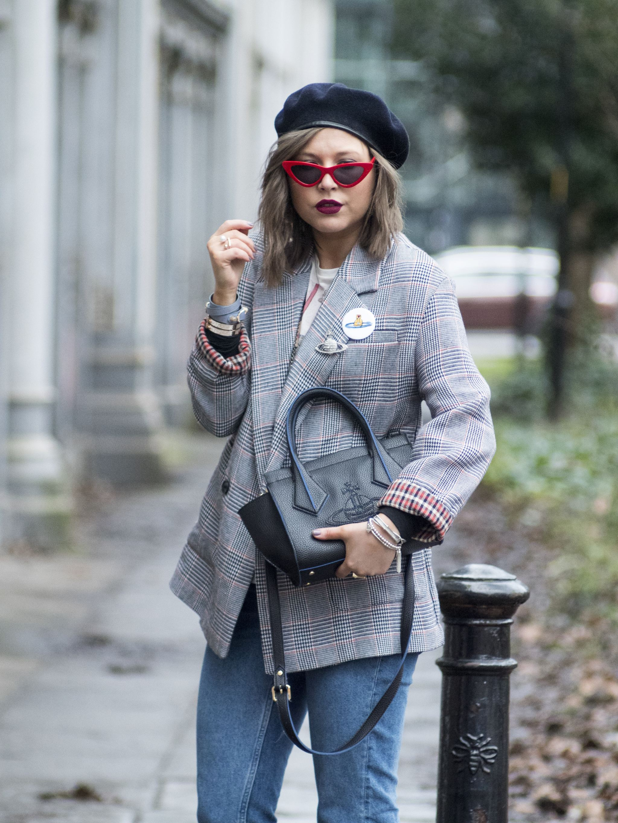 manchester fashion blogger, check blazer , tiny sunglasses, vivinne westwood bag, beret, check blazer, zara blazer