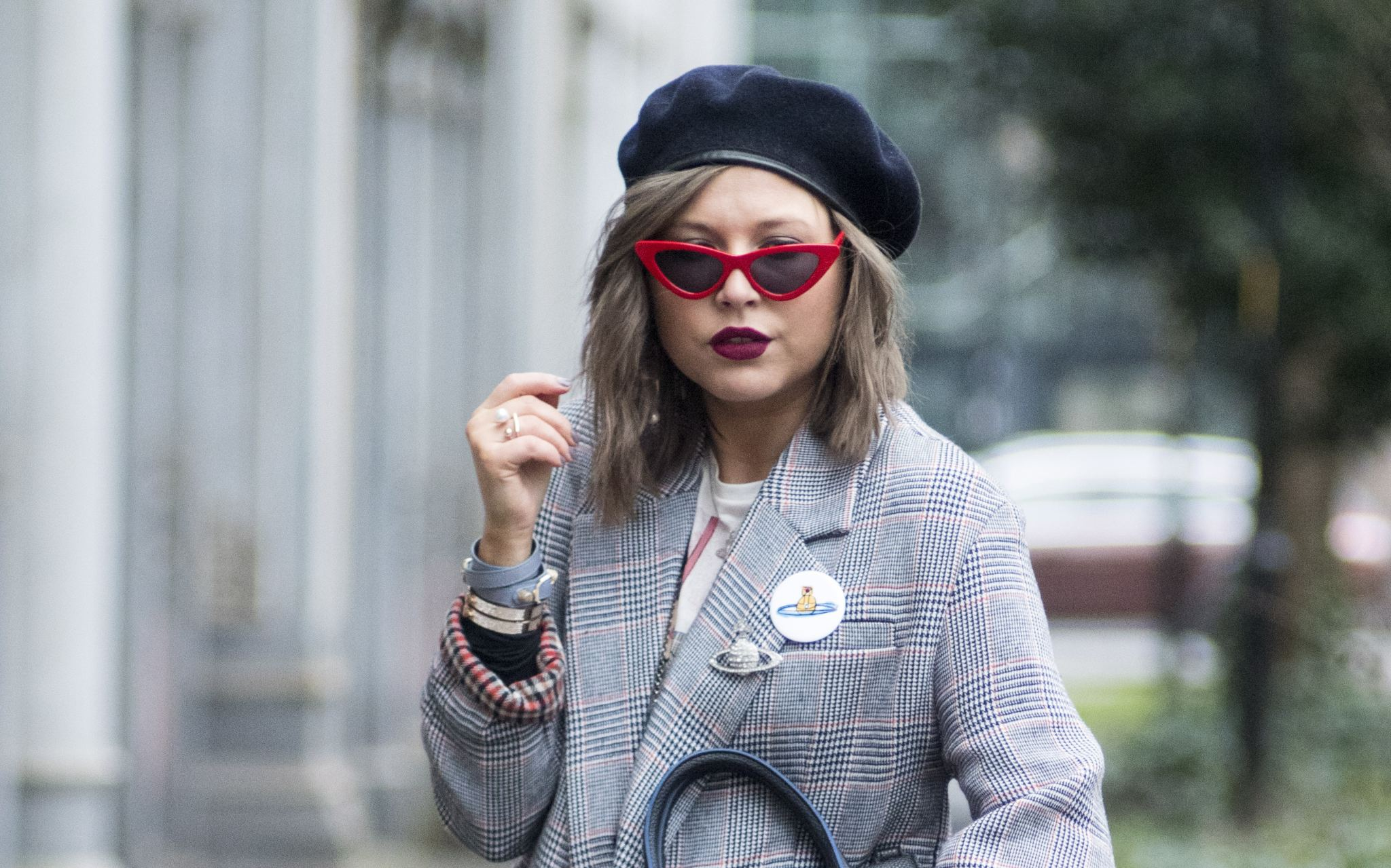 manchester fashion blogger, check blazer , tiny sunglasses