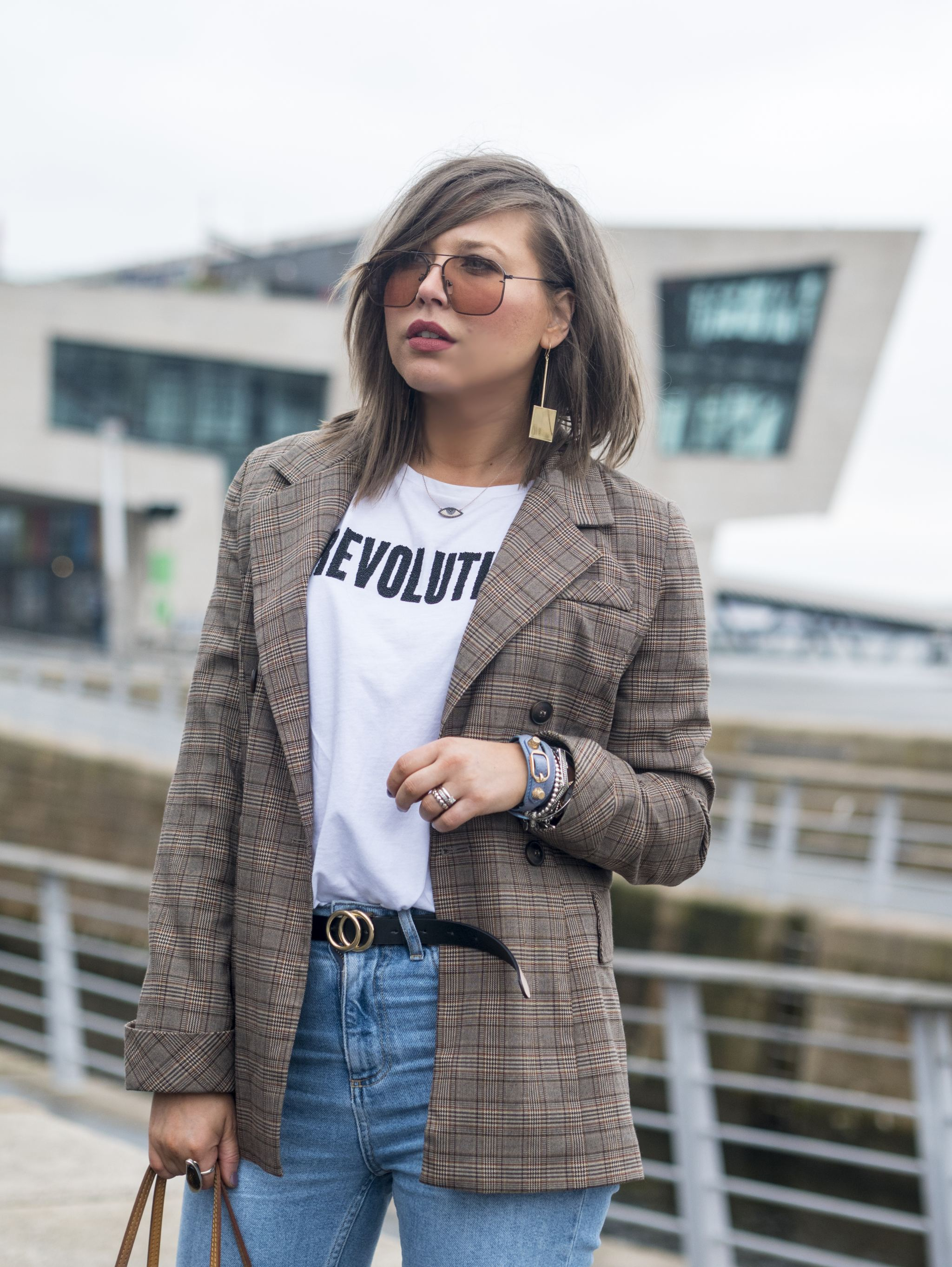 manchester fashion blogger , femeile revolution, check blazer, Louis Vuitton, topsjop straight jeans , manchester