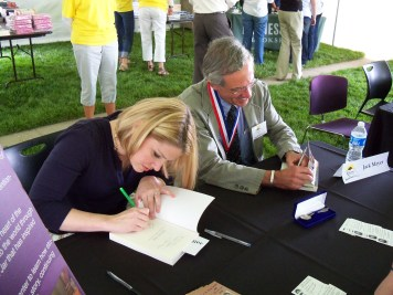The book signing at the Barnes and Noble tent, at the Kansas Book Festival, shows Life in a Jar cast star, Jaime Walker and author Jack Mayer.
