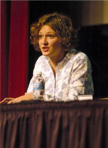 Kinga Krzeminska, who translated for Irena, speaks to an audience at the Chicago Public Library about Irena Sendler. This forum took place in November of 2008.