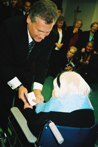 Irena receiving the Order of the White Eagle from the President of Poland.