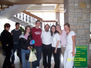 The Life in a Jar group in Zakopane, Poland to present the play to 200 child survivors. We are with Rabbi Schudrich, the Rabbi of Poland, Polish student helper, Zuzia, and coordinator-child survivor and good friend, Elzbieta Ficowska.