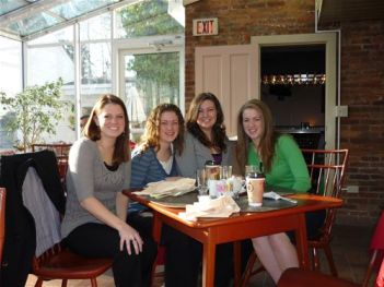 Cast members Jaime Walker, Theresa Schafer, Megan Felt and Patricia Schafer at breakfast before the performance in Bloomsburg, PA