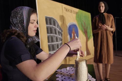 Project founder Megan Stewart playing Irena. (Photo courtesy of Jeffrey Allen Ignarro of the Milken Family Foundation)