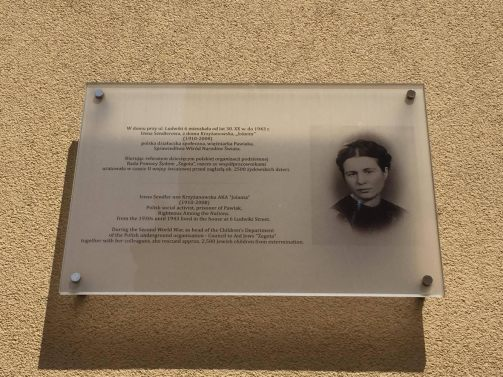 Plaque on the apartment building where Irena Sendler lived from the 1930's to 1943