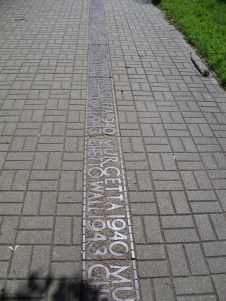 Most of the Ghetto outline is on the sidewalks and streets of Warsaw.