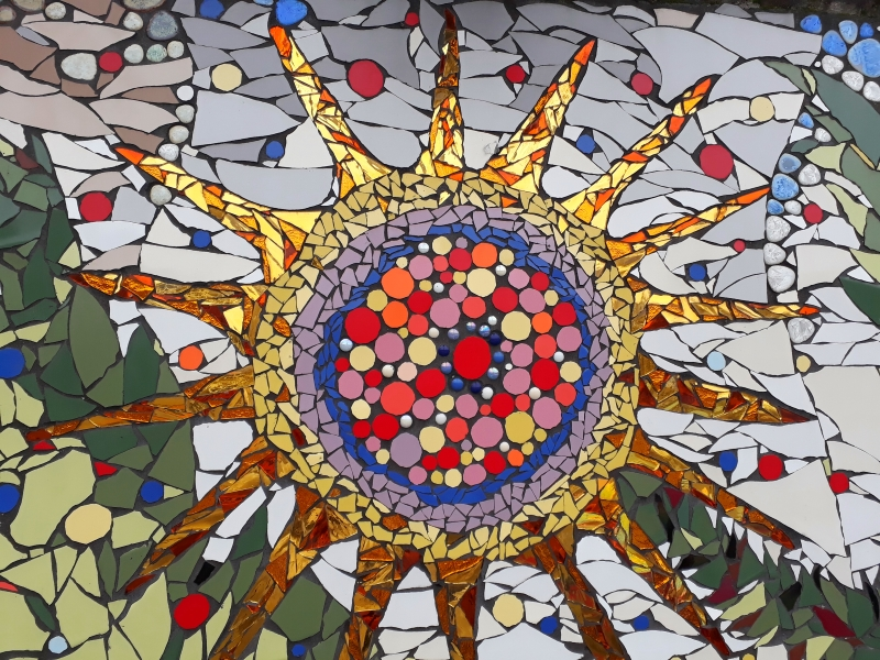 Sun detail from mosaic wall, Scots International Church Rotterdam