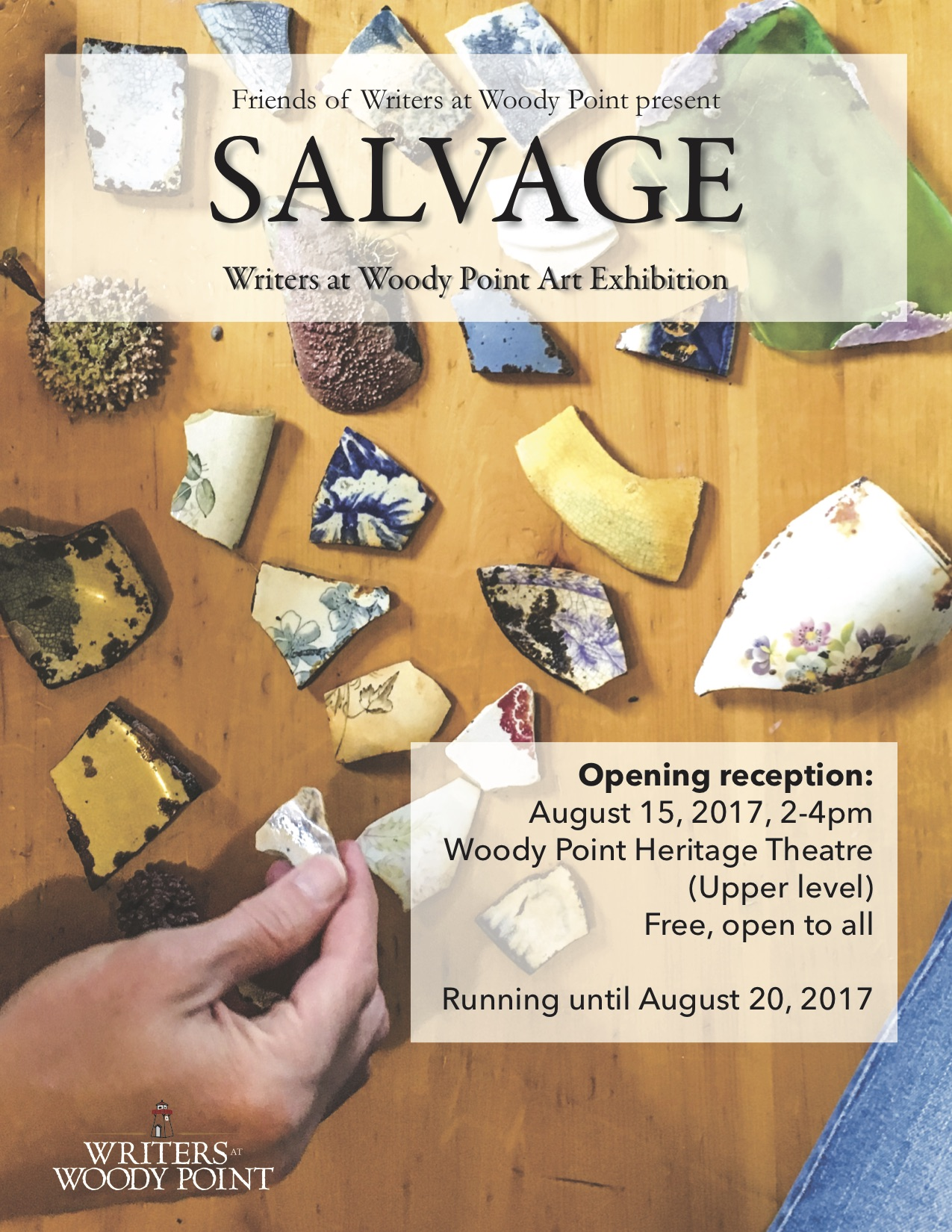 poster for Salvage, art show at Writers at Woody Point festival, 2017