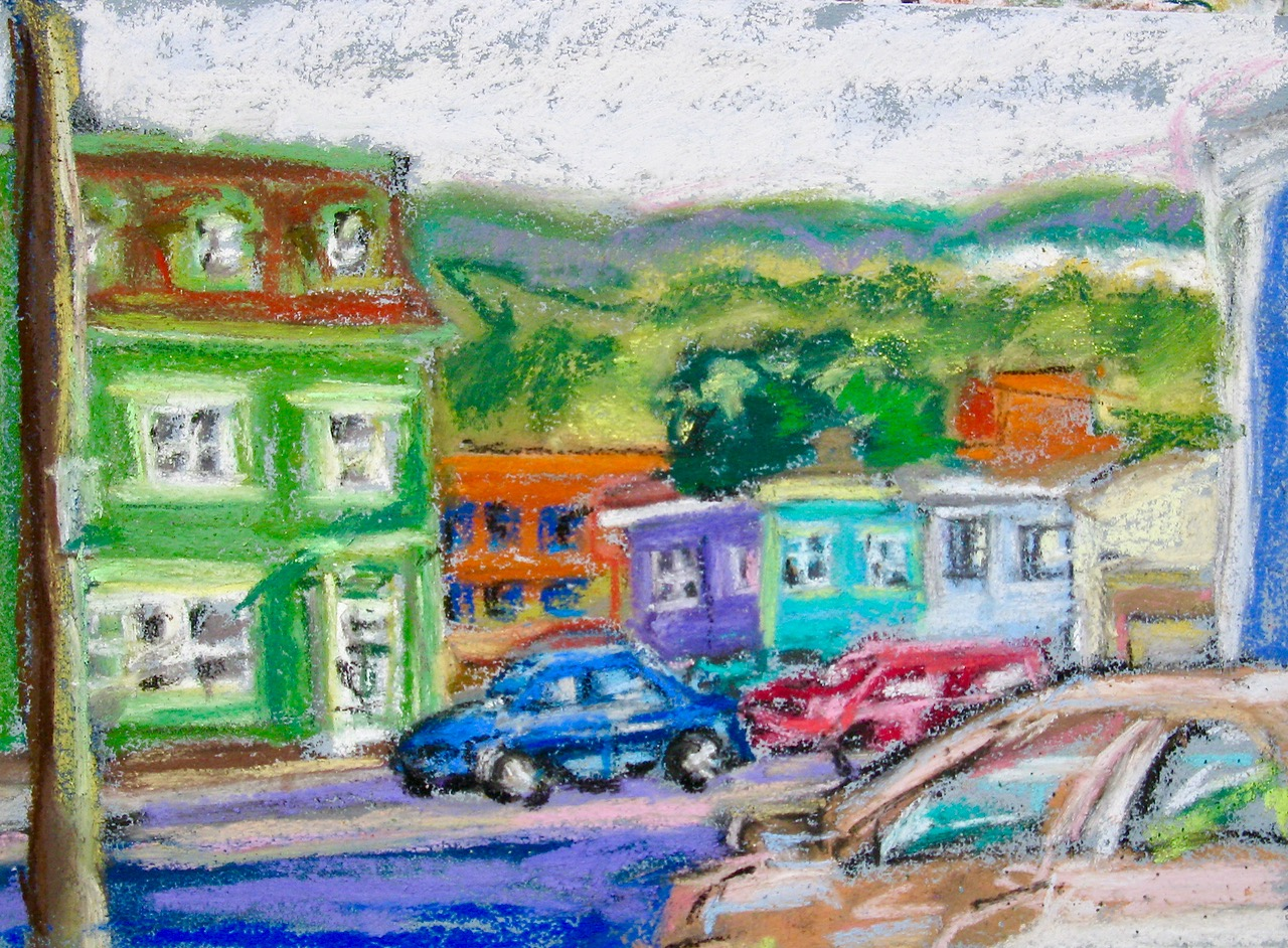 original pastel painting, downtown St. John's
