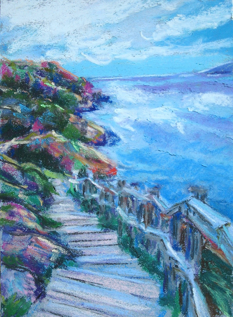 Pastel painting of the Signal Hill hike Newfoundland