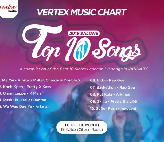 VERTEX MEDIA RELEASES THE TOP 10 SALONE SONGS FOR JANUARY