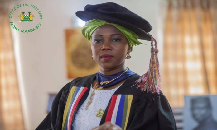First Lady, Her Excellency, Madam Fatima Maada Bio Robed as Honorary Fellow of the West African College of Nursing
