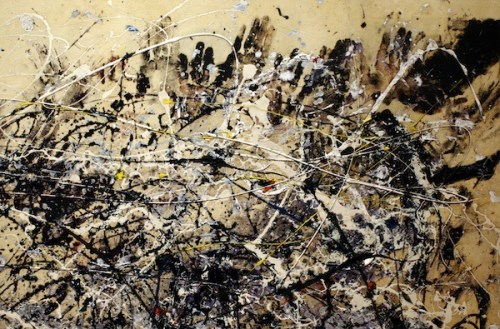 "Jackson Pollock (American, Abstract Expressionism, 1912-1956): (detail) ""Number 1A, 1948,"" 1948. Oil and enamel paint on canvas, after conservation. © Pollock-Krasner Foundation/Artists Rights Society (ARS), New York. Image Courtesy MoMA"