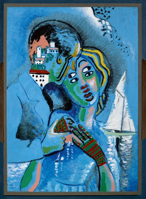 "Francis Picabia, Idylle (Idyll), ca. 1925–27, oil and enamel paint on wood, in a frame by Pierre Legrain, framed: 44¼"" × 32½"" × 3"". PHOTO: ©MUSÉE DE GRENOBLE; ART: ©2016 ARTIST RIGHTS SOCIETY (ARS), NEW YORK AND ADAGP, PARIS/MUSÉE DE GRENOBLE, GIFT OF JACQUES DOUCET, 1931"