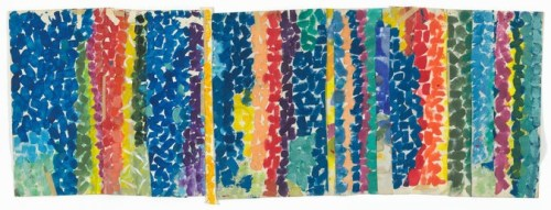 """Alma Woodsey Thomas's """"Untitled"""" (c. 1968) made of polymer paint and pressure-sensitive tape on cut-and-stapled paper."""
