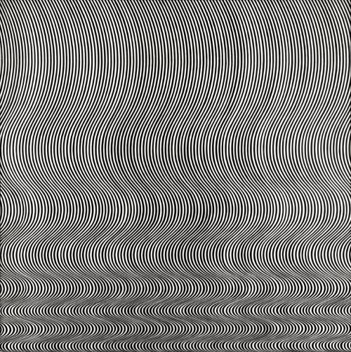 Bridget Riley (British, Op Art, b. 1931): Fall, 1963. Polyvinyl acetate paint on hardboard, 1410 x 1403 mm. Tate Modern, London, UK. © Bridget Riley. Image: © Tate. © This artwork may be protected by copyright. It is posted on the site in accordance with fair use principles.  'I try to organise a field of visual energy which accumulates until it reaches maximum tension', Riley said of this work. (© Tate.)