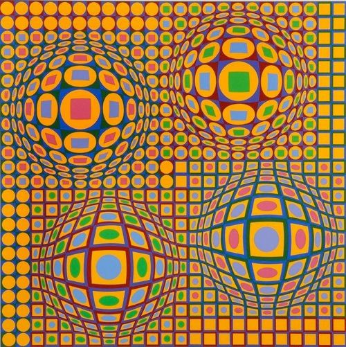 Victor Vasarely (Hungarian/French, Op Art, 1906-1997): Quadrature, c. 1979. Color silkscreen on wove paper. Private Collection. © This artwork may be protected by copyright. It is posted on the site in accordance with fair use principles.