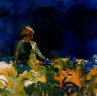 Elmer Bischoff (American, Bay Area Figurative Movement, 1916–1991): Woman with Dark Blue Sky, 1959. Oil on canvas. © Estate of Elmer Bischoff. © This artwork may be protected by copyright. It is posted on the site in accordance with fair use principles.