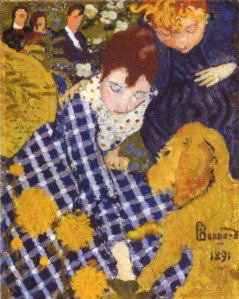 Pierre Bonnard (French, Les Nabis, 1867-1947): Women with Dog (Women and the Dog), 1891. Oil on canvas, 16 x 12-3/4 inches (41 x 32.4 cm). Sterling and Francine Clark Art Institute, Williamstown, Massachusetts, USA. © Artists Rights Society (ARS), New York/ADAGP, Paris. © This artwork may be protected by copyright. It is posted on the site in accordance with fair use principles.
