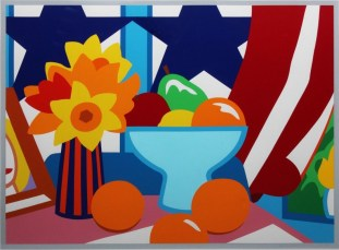 Tom Wesselmann (American; Pop Art, Assemblage; 1931-2004): Still Life with Blowing Curtain (Red), 1998. Screen-print in colors, on Coventry Rag paper. Edition: Printers Proof. Publisher: By Wesselman and Sandro Rumney. Private Collection. © Estate of Tom Wesselmann / SODRAC, Montreal / VAGA, New York.