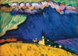 Wassily Kandinsky (Russian; Expressionism, Abstract Art; 1866-1944): Dünaberg, 1909. Oil on board, 13 x 17-3/4 inches (33 x 45 cm). Private Collection. © ADAGP, Paris and DACS, London. Image: © Invaluable, LLC. and participating auction houses. © This artwork may be protected by copyright. It is posted on the site in accordance with fair use principles.