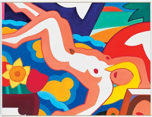 Tom Wesselmann (American; Pop Art, Assemblage; 1931-2004): Sunset Nude, Floral Blanket; 2003. Oil on canvas, 91 x 120 inches. © The Estate of Tom Wesselmann.