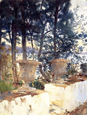 John Singer Sargent (American, Impressionism, 1856–1925): Corfu, The Terrace, 1909. Translucent watercolor, with touches of opaque watercolor and wax resist, over graphite on paper; 52.8 x 40.2 cm (20-13/16 x 15-13/16 inches). Museum of Fine Arts, Boston, Massachusetts, USA.