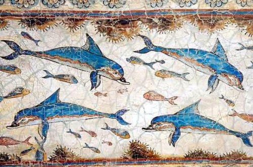 Palace at Knossos, Minoan, Dolphin Fresco, c. 1500 BC. Heraklion Archaeological Museum in Heraklion, Crete.