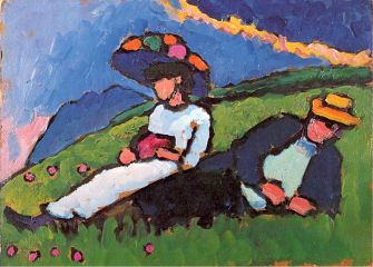 Gabriele Münter (German, Expressionism, 1877-1962): Jawlensky and Werefkin, 1908-1909. Oil on card, 32.7 x 44.5 cm. Lenbachhaus, Munich, Germany. © This artwork may be protected by copyright. It is posted on the site in accordance with fair use principles.