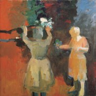 Elmer Bischoff (American, Bay Area Figurative Movement, 1916–1991): Two Women in Vermillion Light, 1959. Oil on canvas, 67-1/2 x 67-1/2 inches. San Jose Museum of Art, San Jose, California, USA. © This artwork may be protected by copyright. It is posted on the site in accordance with fair use principles.