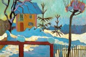 Gabriele Münter (German, Expressionism, 1877-1962): A House in the Winter Sun, 1909. Oil painting. © Artists Rights Society (ARS), New York / VG Bild-Kunst, Bonn. © This artwork may be protected by copyright. It is posted on the site in accordance with fair use principles.