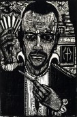"""Erich Heckel (German; Expressionism, Die Brücke, 1883-1970): Magician (Memory of Paul Klee), 1956. Woodcut. Composition: 14-13/16 x 9-13/16 inches (37.7 x 25 cm); Sheet: 20-7/8 x 13-15/16"""" (53 x 35.4 cm). Museum of Modern Art, New York, NY, USA. © Erich Heckel / Artists Rights Society (ARS), New York / VG Bild-Kunst, Germany."""