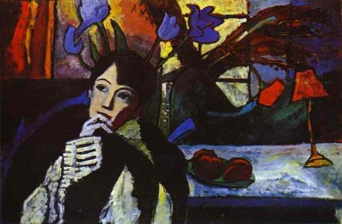 Gabriele Münter (German, Expressionism, Blaue Reiter, 1877-1962): Meditation, 1917. Oil on canvas. Stadtische Galerie im Lenbachhaus, Munich, Germany. © Artists Rights Society (ARS), New York / VG Bild-Kunst, Bonn. © This artwork may be protected by copyright. It is posted on the site in accordance with fair use principles.