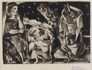 "Pablo Picasso (Spanish, 1881–1973): ""Blind minotaur being led by a little girl (resembling Marie-Therese) with a pigeon in a starry night,"" plate 97 of the Vollard Suite (VS 97); 3-7 December and 31 December 1934. Aquatint with scraper to resemble a mezzotint, drypoint and engraving. British Museum, London, UK. © Succession Picasso/DACS, courtesy British Museum © This artwork may be protected by copyright. It is posted on the site in accordance with fair use principles."