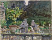 John Singer Sargent (American, Impressionism, 1856–1925): Villa di Marlia, Lucca: A Fountain; 1910. Translucent watercolor, with touches of opaque watercolor and wax resist, over graphite on paper; 40.4 x 53.1 cm (15-7/8 x 20-7/8 inches). Museum of Fine Arts, Boston, Massachusetts, USA.