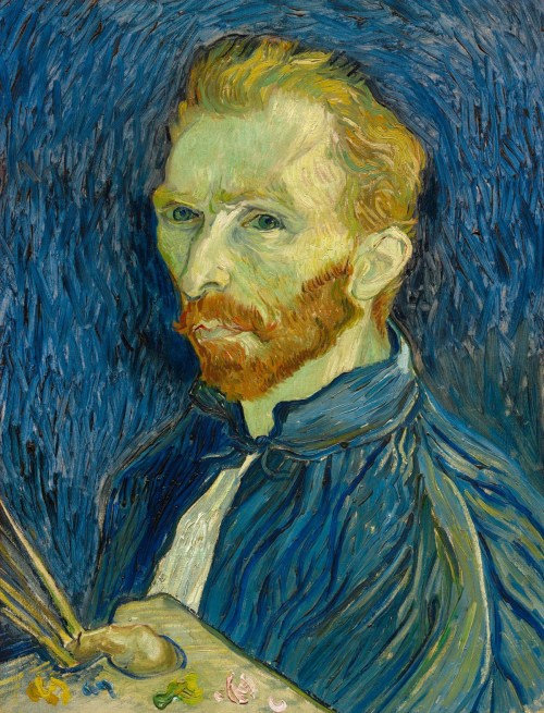 Vincent van Gogh (Dutch, Post-Impressionism, 1853-1890): Self Portrait with Palette, 1889. Created in Arles, France. Oil on canvas, 57 x 43.5 cm. Private Collection