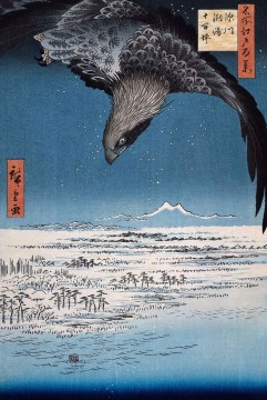 Utagawa Hiroshige (Ando) (Japanese, Ukiyo-e, 1797-1858): Eagle Over 100,000 Acre Plain at Susaki, Fukagawa (Juman-tsubo). Series: 100 Views of Edo (Meisho Edo hyakkei), published by Uoya Eikichi, 1857. Color Woodblock print. Fitzwilliam Museum, University of Cambridge, UK.