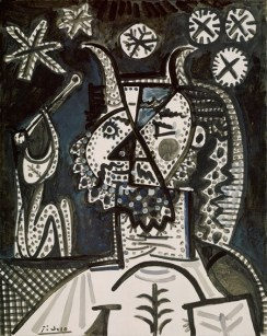 "Pablo Picasso (Spanish, 1881–1973): Faun with Stars, 1955. Oil on canvas, 36 x 28-1/2 inches (91.4 x 72.4 cm). Metropolitan Museum of Art, New York, NY, USA. Image: Metropolitan Museum of Art. © 2011 Estate of Pablo Picasso / Artists Rights Society (ARS), New York. © This artwork may be protected by copyright. It is posted on the site in accordance with fair use principles. ""In 1955... Picasso was once again in love, this time with Jacqueline Roque (1927–1986), a beautiful young woman whom he had met the previous summer and later married (1961). At the time of this painting, she was about twenty-eight years old and he seventy-four... a grizzled, starry-eyed faun and a nubile nymph playing a pipe... Such figures from mythology—nymphs, satyrs, fauns, centaurs, and minotaurs—had populated his work in the 1920s and '30s and often substituted as self-portraits in narratives about love and lust... decorative and playful graphic style that Picasso adopted in works such as this characterize his late style and relate specifically to his painted ceramic oeuvre that he began making in 1947."" (© The Metropolitan Museum of Art)"