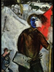 Marc Chagall (French, born Russia — present-day Belarus; 1887-1985): Hour between Wolf and Dog (Between Darkness and Light), 1938-1943. Oil on canvas, 100 x 73 cm. Private Collection. © This artwork may be protected by copyright. It is posted on the site in accordance with fair use principles.