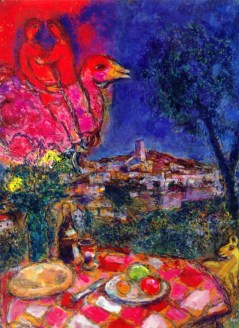 Marc Chagall (French, born Russia — present-day Belarus; 1887-1985): Laid Table with View of Saint-Paul de Vence, 1968. Oil on canvas, 100 x 73 cm. Private Collection. © This artwork may be protected by copyright. It is posted on the site in accordance with fair use principles.