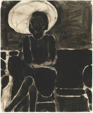 Richard Diebenkorn (American, Bay Area Figurative Movement, 1922–1993): Seated Woman, Umbrella; 1967. Ink and charcoal on paper, 17 × 13-9/10 inches (43.2 × 35.2 cm). © The Richard Diebenkorn Foundation. © This artwork may be protected by copyright. It is posted on the site in accordance with fair use principles.