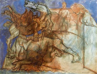Pablo Picasso (Spanish, 1881-1973): Minotaur is wounded, horse and personages (Minotaure blesse, cheval et personnages), Vollard Suite; 1936. Etching. Musée Picasso, Paris, France. © This artwork may be protected by copyright. It is posted on the site in accordance with fair use principles.