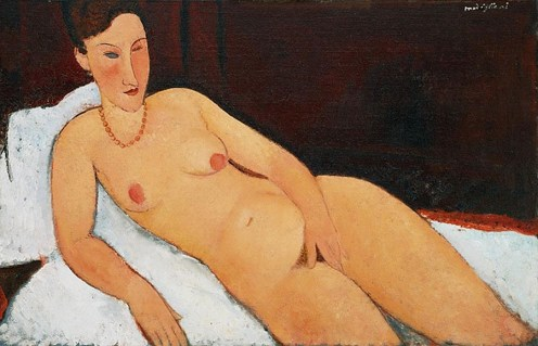 Amedeo Modigliani (Italian, Modernism, 1884-1920): Nude with Coral Necklace, 1917. Oil on canvas, 26-3/16 x 39-13/16 inches (66.5 x 101.1 cm). Allen Art Museum, Oberlin College, Ohio, USA.