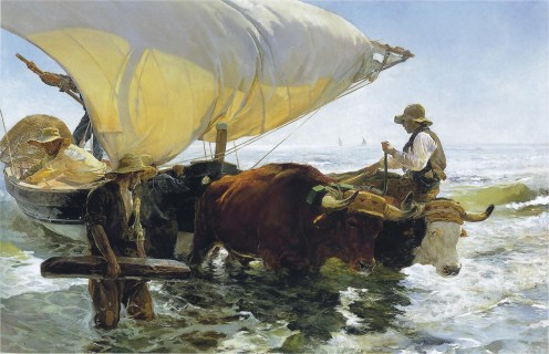Joaquin Sorolla (Valencian Spanish, Impressionism, 1863-1923): Return from Fishing, Hauling in the Boat; 1894. Oil on canvas, 265 x 403.5 cm. Musée d'Orsay, Paris, France.