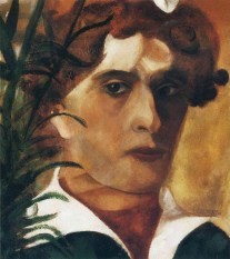 Marc Chagall (French, born Russia — present-day Belarus; 1887-1985): Self-Portrait, 1914. Oil on paper, 30 x 26.5 cm. Philadelphia Museum of Art, Philadelphia, Pennsylvania, USA. © This artwork may be protected by copyright. It is posted on the site in accordance with fair use principles.