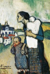 Pablo Picasso (Spanish, 1881-1973): The Mother, 1901. Precursor to Blue Period. Oil on cardboard mounted on panel, 29-1/2 x 20-1/2 inches ( 74.9 x 52.1 cm). Saint Louis Art Museum, St. Louis, Missouri, USA. © Estate of Pablo Picasso/Artists Rights Society (ARS), New York . © This artwork may be protected by copyright. It is posted on the site in accordance with fair use principles.