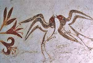 Minoan: Spring Fresco (detail, Swallows), ca. 1650 BCE. From Room Delta 2, Akrotiri, Thera, Greece.