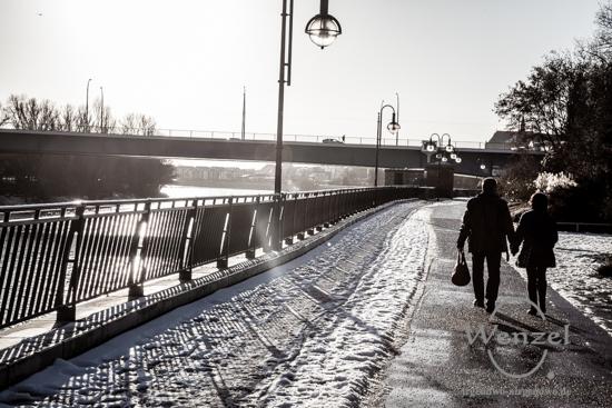 Unterwegs in Magdeburg - Januar 2016 - Elbuferpromenade